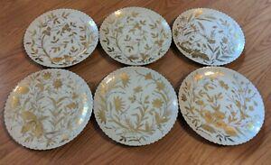 Set 6 Antique Continental Porcelain Plates Beehive Mark Gold Gilt Handpainted