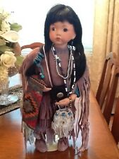 NATIVE AMERICAN PORCELAIN DOLL STANDING, PURPLE SUEDE DRESS BEADWORK JEWELRY ETC