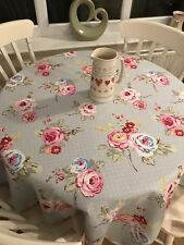 Clarke & Clarke Blue Grey English Rose Pink Floral Tablecloth Fabric 1.2m Square