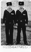 #20 TWO Sailor Handsome PHOTO GUYS Men Soviet Baltic Fleet Vintage USSR