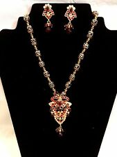 BEAUTIFUL Indian BRIDAL Red Stone Kundan Necklace, Earring Set