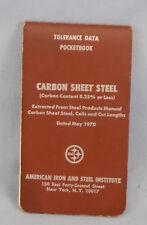 Vintage 1970 Tolerance Data Pocketbook, Carbon Sheet Steel, Uss, Manual, Book