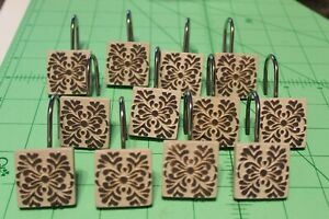 Cream Brown Square Floral elegant theme shower curtain hooks rings lot 12 set