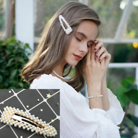 Fashion Korean Women Pearl Hair Clip Hairband Bobby Barrette Hairpin