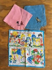 VINTAGE CHILD CHILDREN HANDKERCHIEF HANKY Lot Ways To Tell Time Embroidered