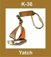 NEW YATCH SHAPED BRASS NAUTICAL KEY RING KEYCHAIN KEY FOB KEY