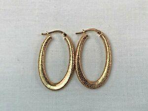 14k Italian Rose Gold Elongated Hoop Earrings