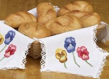 Pansy PANSIES Flower BREAD CLOTH Embroidery Kit ~ NEW