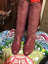 Siberian Husky  Pink  Leather Knee High Fleece Lined Slip On Boots Shoes 8.5 B