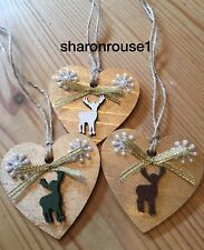 3 X Christmas Decorations Reindeer Shabby Chic Rustic Real Wood Gold With Twine