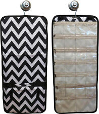 Hanging Travel Jewelry Roll (black/white chevron) great for travel or home!