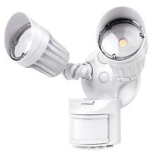 White Led 2 Head Security Light Motion Sensor Outdoor Water Proof 120V 5000K 20W