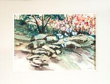 "Painting Watercolor Forest Scene Blue Butterflies 20 x 26"" Jentoft"