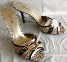 NWOB, Guess heels, Trey design, cream/brown G logo canvas, slip on, size 7.5M