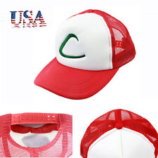 US Pokemon Ash Ketchum Hat Free Size Baseball Cap Red Costume Cosplay Kids Gift
