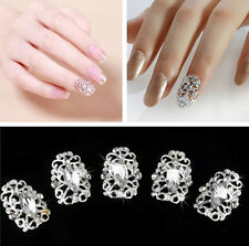 3D 5pcs Bling Glitter Acrylic Crystal Rhinestone silver Nail Art Tips Decoration