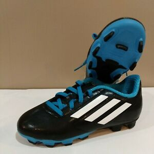 New Adidas CONQUISTO FG J Youth Boys Soccer Cleats Size 1 Black/Blue