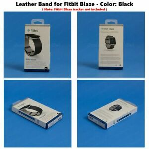 NEW Fitbit Blaze Accessory replacement Black Leather Wrist Band & Frame S/L