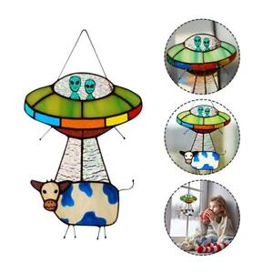 UFO Alien Cow Pendant Stained Glass Suncatcher Window Panel Garden Decoration