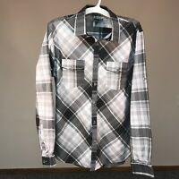 Express Men's Size Large 16-16.5 Fitted Dress Shirt Gray Plaid Button Down