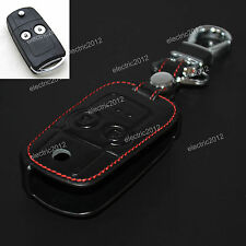 2 Button Black Leather Holder Flip Key Case Cover For Honda Accord Odyssey Civic