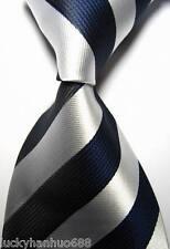 New Classic Stripes Silver Dark Blue JACQUARD WOVEN 100% Silk Men's Tie Necktie