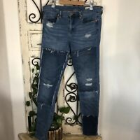 Blank NYC patchwork distressed high rise skinny jeans Size 31