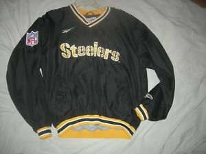 Pittsburgh Steelers NFL AUTHENTIC PRO-LINE Med/Large V-Neck Windbreaker,AWESOME