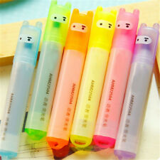 6PCS Highlighter Pen Rabbit Writing Kawaii Stationery Mini Marker Pens Set Gift