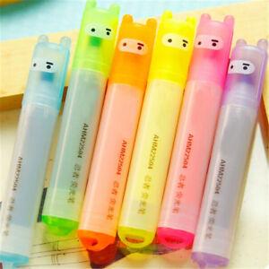 6PCS/Set Highlighter Pen Rabbit Stationery Marker Pens Mini Writing Gift