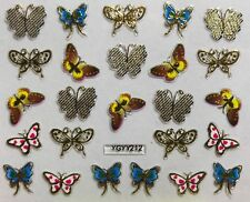 Nail Art 3D Decal Stickers Butterfly Gold White with Pink Spots YGYY212