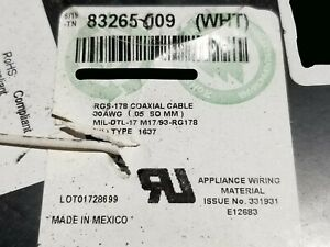 Belden 83265 30awg RG-178 M17/93-RG178 50Ohm SCCCS FEP Coaxial Cable White /25ft