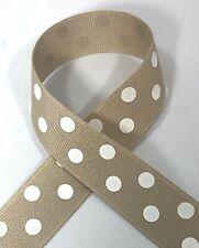 "Oatmeal Taupe Polka Dot Ribbon in 1.5/"" or 7//8 5 YD Grosgrain Schiff Tan Beige"
