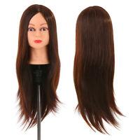 "24"" Salon Human Hair Practice Training Head Mannequin Hairdressing Doll Clamp"