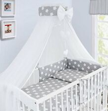 Bedding Set Baby Nursery Cot Cotbed Pillow Duvet Cover Bumper Canopy 3/6/10/14pc Big Grey Stars on White 120 X 60cm 3 Pieces