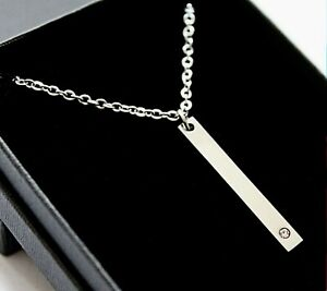 Personalised Name Bar Necklace Engraved Jewellery Womens Ladies Birthday Gifts