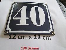 Hausnummer Emaille Nr. 40 weisse Zahl auf blauem Hintergrund 12 cm x 12 cm