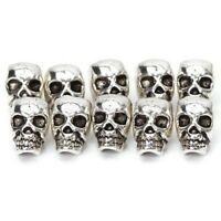 DIY 10pcs 10mm Antique Silver Skull Head Spacer Beads Jewellry Findings 4mm Hole