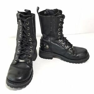 Harley Davidson Womens 5.5 Combat Riding Boots 84525 Studded Zip Black Leather