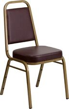 Trapezoidal Back Stacking Banquet Chair in Brown Vinyl with Gold Frame