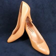 Newport News Womens Pumps Beige Nude Leather Plush Lining High Heels Shoes 7 M