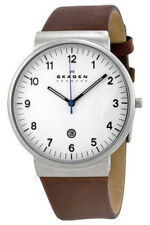 Skagen Men's Ancher Quartz Stainless Steel Brown Leather Watch SKW6082