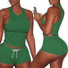 USA Women 2Pcs Yoga Suit Workout Gym Running Sports Bra Vest Shorts Athletic Set