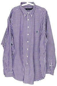 Ralph Lauren Shirt Mens Tag Size 3XLT Purple White Gingham Long Sleeve