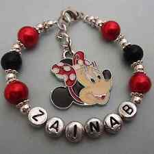 GIRLS CUSTOM NAME PERSONALISED CHARM BRACELET MINNIE MOUSE  GIFT