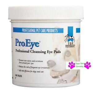 100pc Top Performance ProEye EYE CLEANSING PADS DOG CAT TEAR STAIN Wipe Cleaning