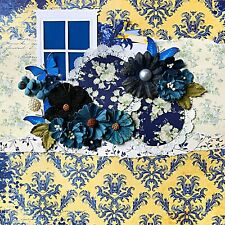 Handmade French Country Window & Flowers 12x12 Premade Scrapbook Layout Page