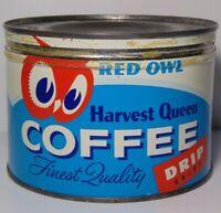 Vintage 1950s RED OWL GRAPHIC KEYWIND COFFEE TIN ONE POUND MINNEAPOLIS MINNESOTA