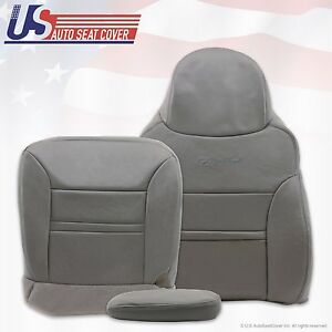 2001 Ford Excursion Limited Passenger Bottom-Top-Armrest Leather Seat Cover Gray