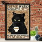 Coffee Spelled Backwards Is Eeffoc No Frame Poster / Black Cat Poster / Lover Co